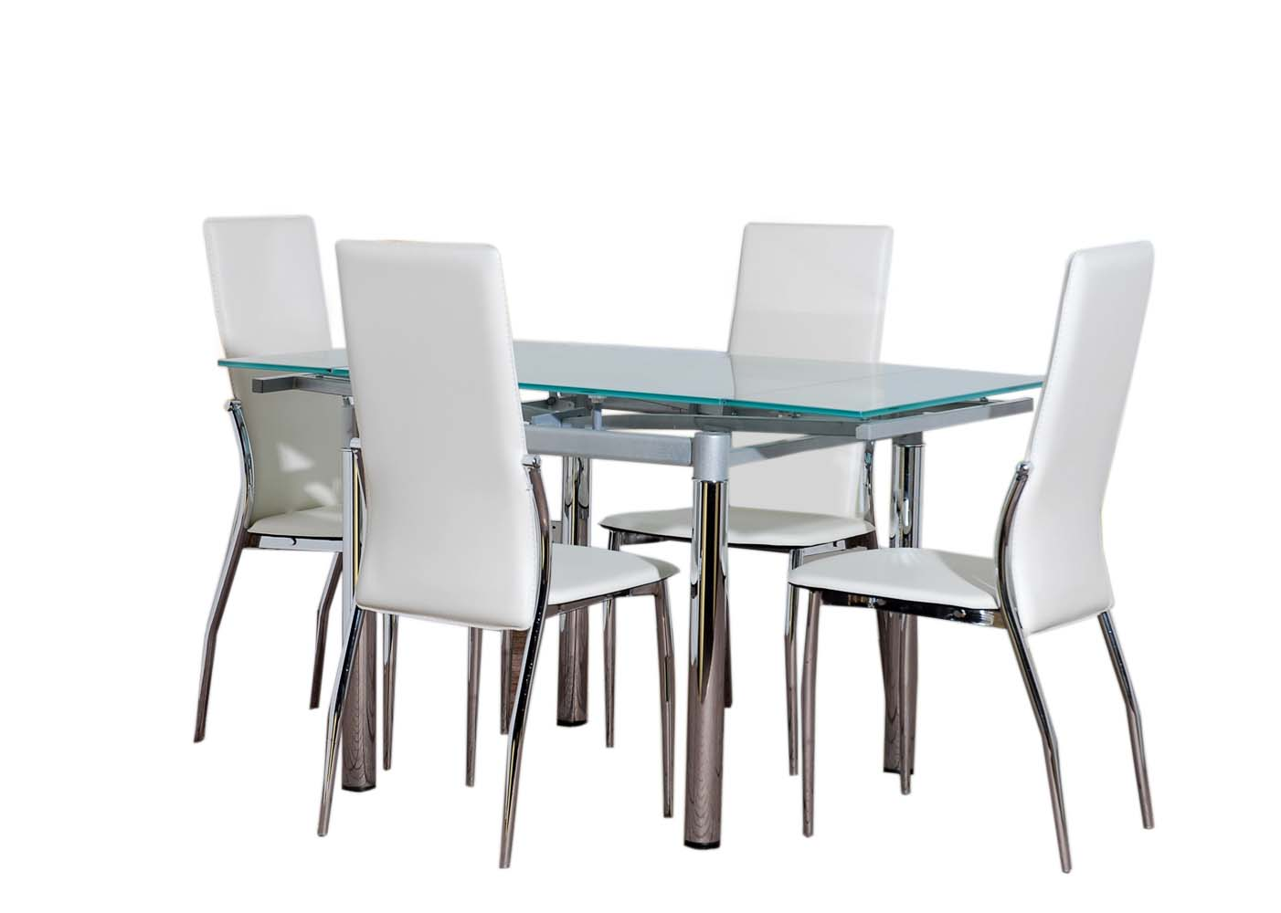Details About Glass Dining Table FURNITURE And 4 Cream CHAIRS Set