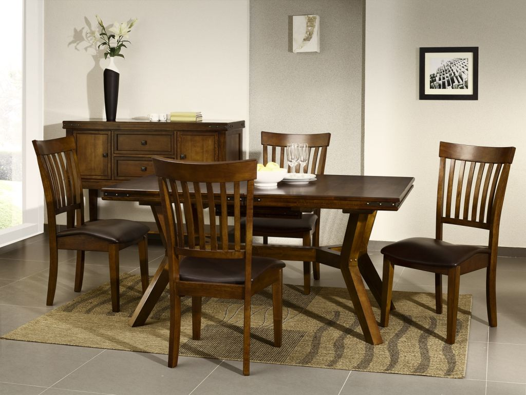 Cuba dark wood furniture dining table and chairs set ebay for Wood dining table set
