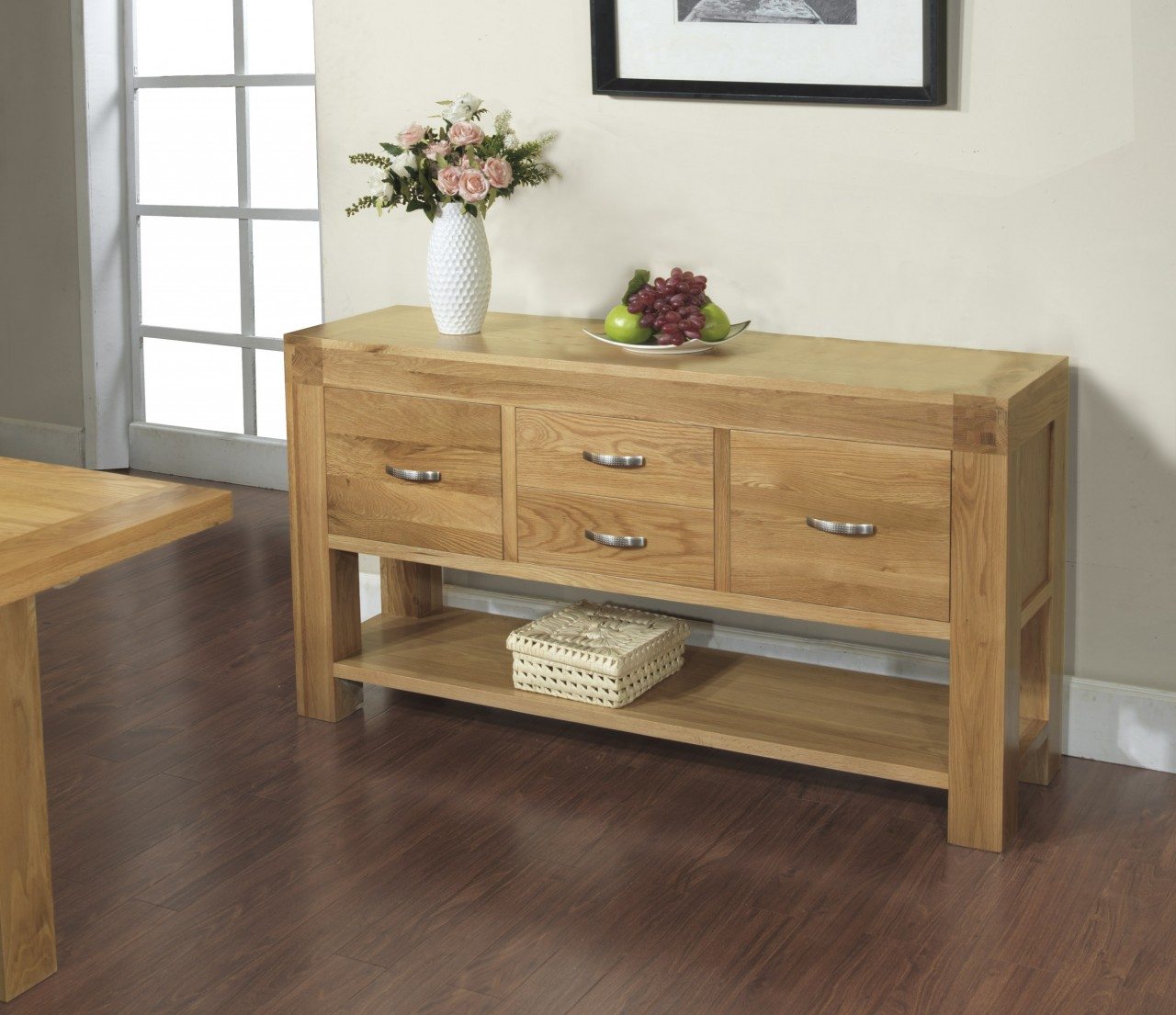 Langton solid contemporary oak furniture large console Console tables with storage