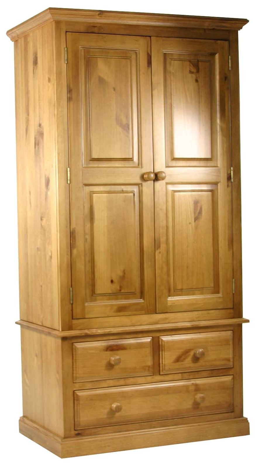Primrose solid pine bedroom furniture double wardrobe with storage drawers ebay for Bedroom set with storage drawers