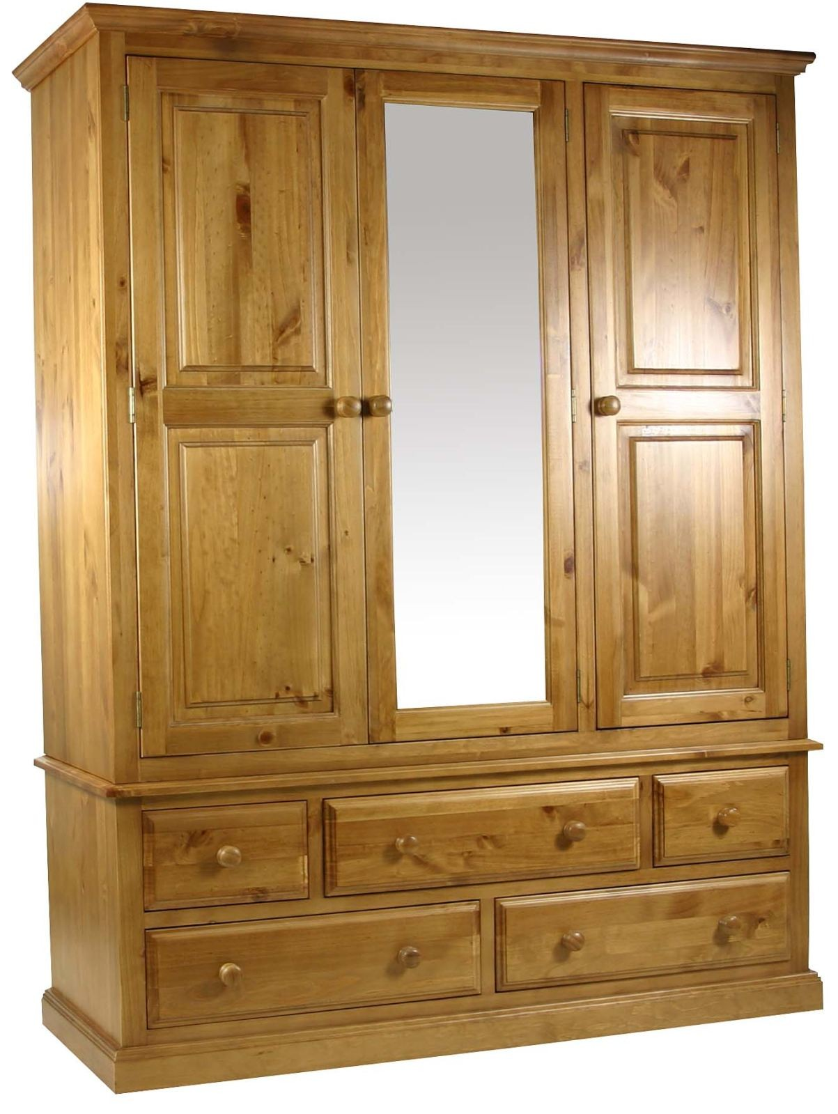 Primrose Solid Chunky Pine Bedroom Furniture Large Triple