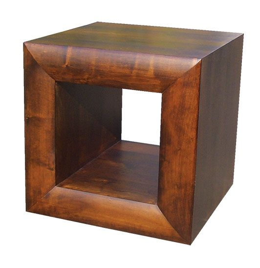 Michigan dark wood furniture side end cube lamp table for Black wood side table