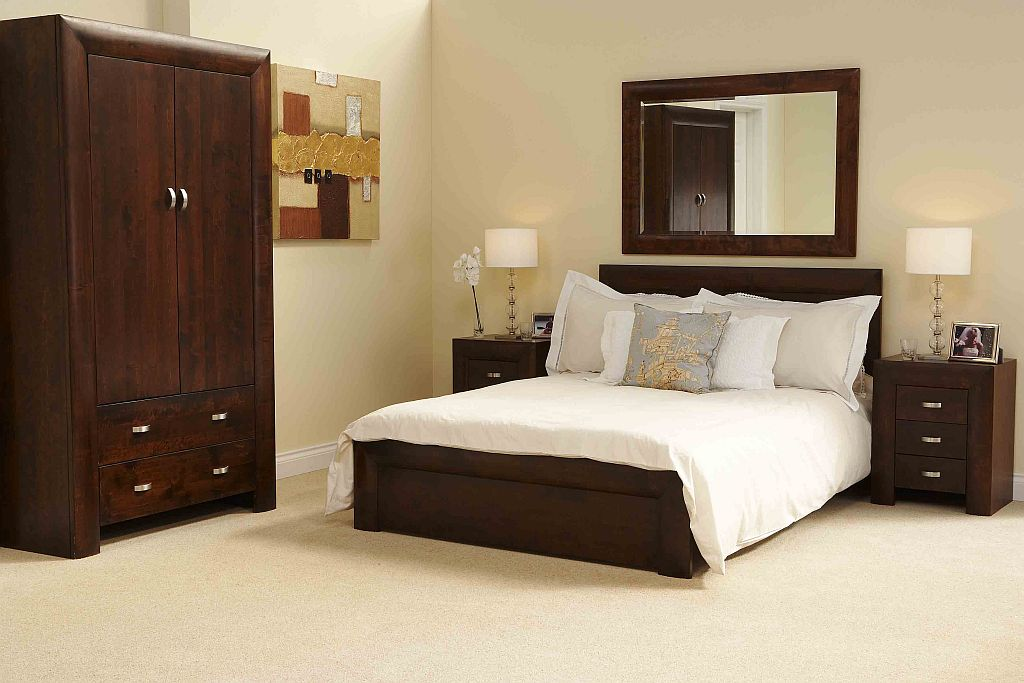 Michigan dark wood bedroom furniture 5 39 king size bed ebay for Dark wood furniture
