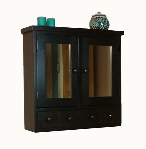 Nara DARK WOOD Bathroom Furniture Wall CABINET Mirror