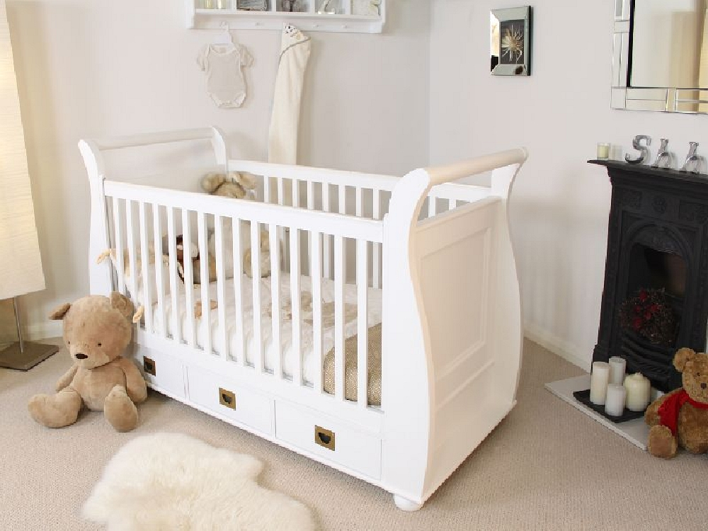 Windsor Childrens White Painted Baby Bedroom Furniture Cot Cotbed