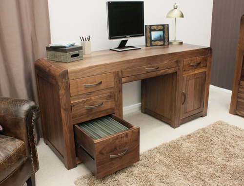 Wooden Computer Desk ~ Shiro solid walnut dark wood furniture large office pc