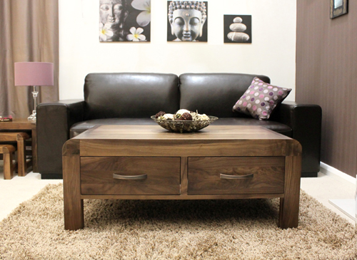 Dark Wood Coffee Table With Drawers  CoffeTable