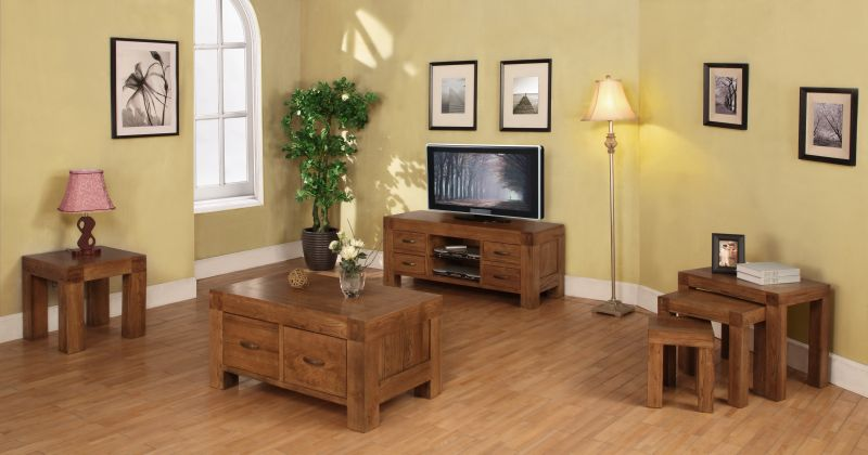 Hena solid oak living room furniture widescreen tv dvd cabinet stand. Oak Living Room Furniture   Modern House