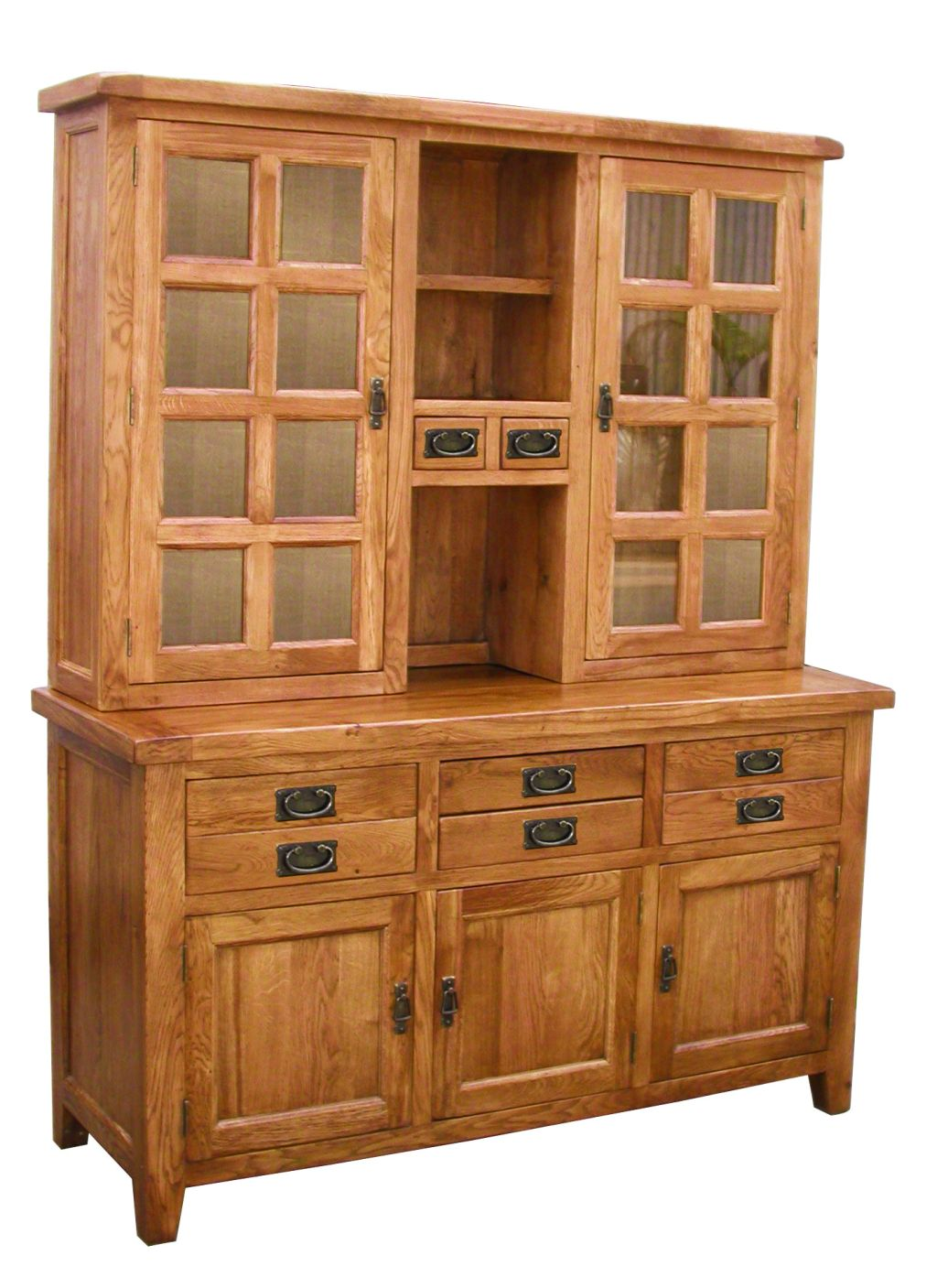 Rustic Solid Oak Dining Room Furniture Large Glass China Cutlery Glazed Dress