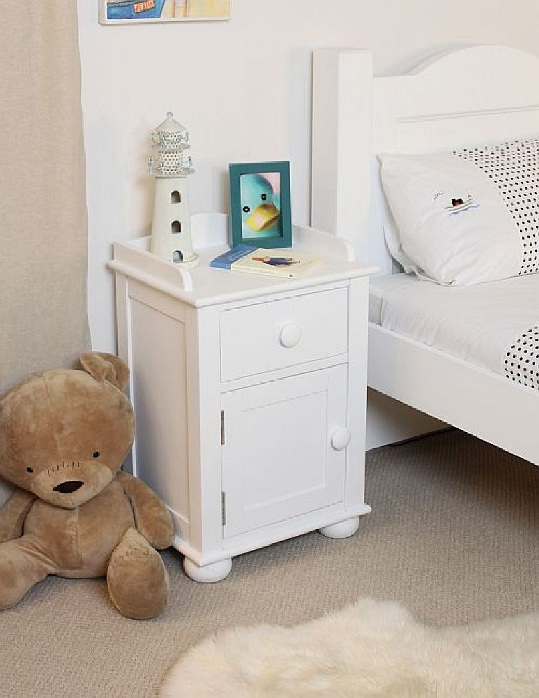 about nutkin childrens white painted bedroom furniture bedside table