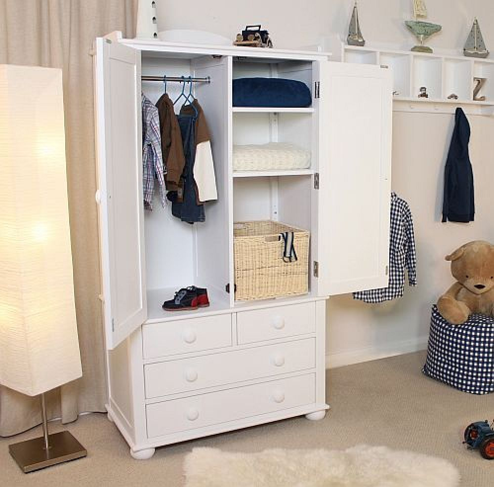 nutkin childrens white painted bedroom furniture double wardrobe with