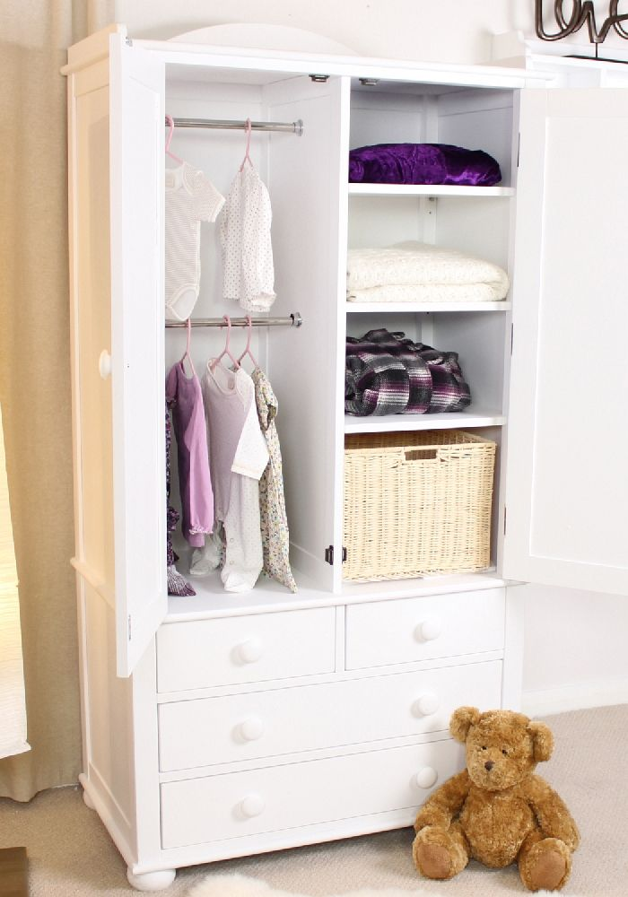 White Painted Bedroom Furniture Double Wardrobe With Drawers EBay