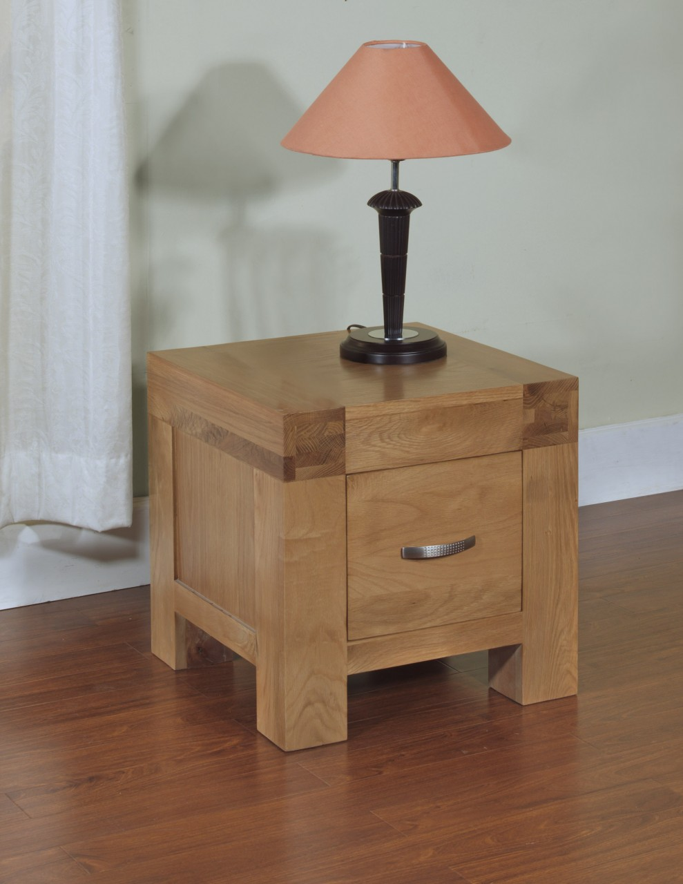 Rivermead Solid Oak Modern Furniture Side End Lamp Table With Storage Drawer Ebay
