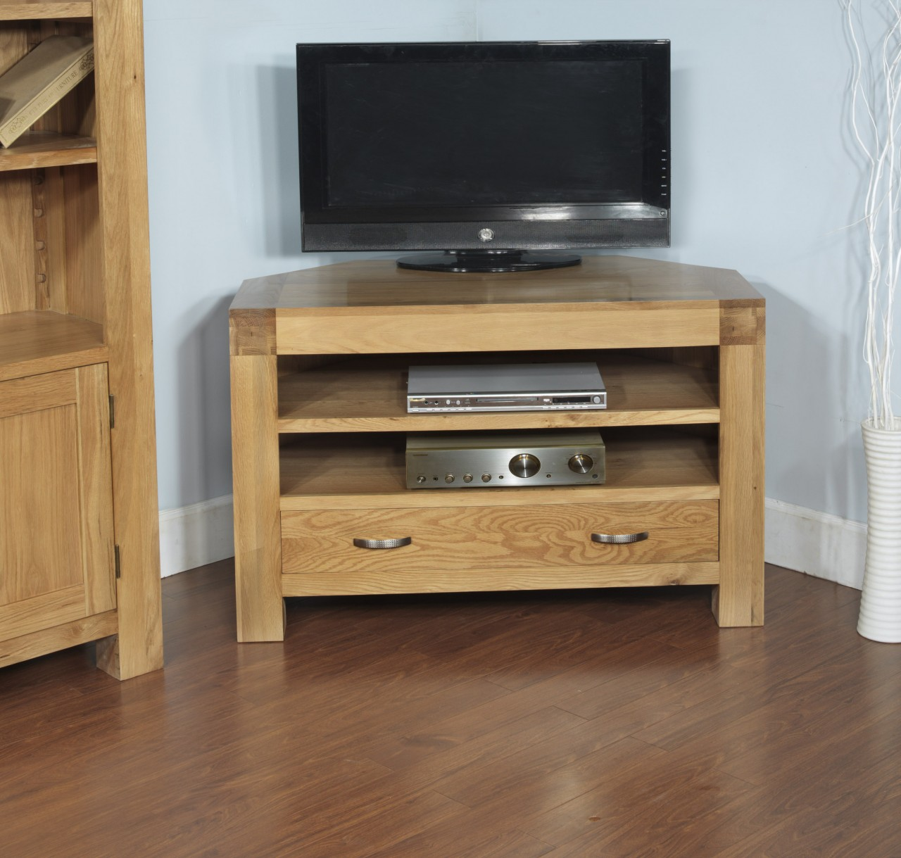 Oak modern furniture widescreen corner tv cabinet stand unit ebay