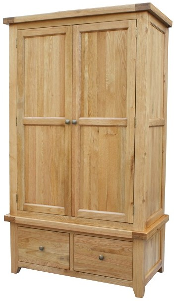 devon solid oak bedroom furniture double wardrobe with storage drawers