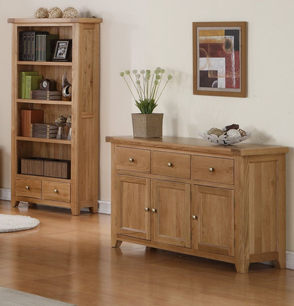 Solid Oak Living Dining Room Furniture Large Storage Sideboard EBay. Full resolution  portraiture, nominally Width 1024 Height 1066 pixels, portraiture with #6F4B2F.