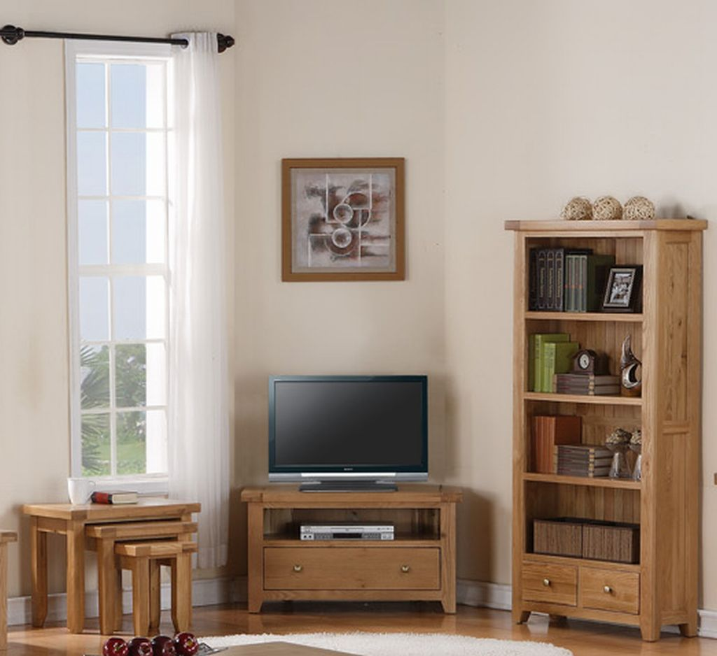 devon solid oak living room furniture corner tv dvd cabinet stand unit ebay. Black Bedroom Furniture Sets. Home Design Ideas