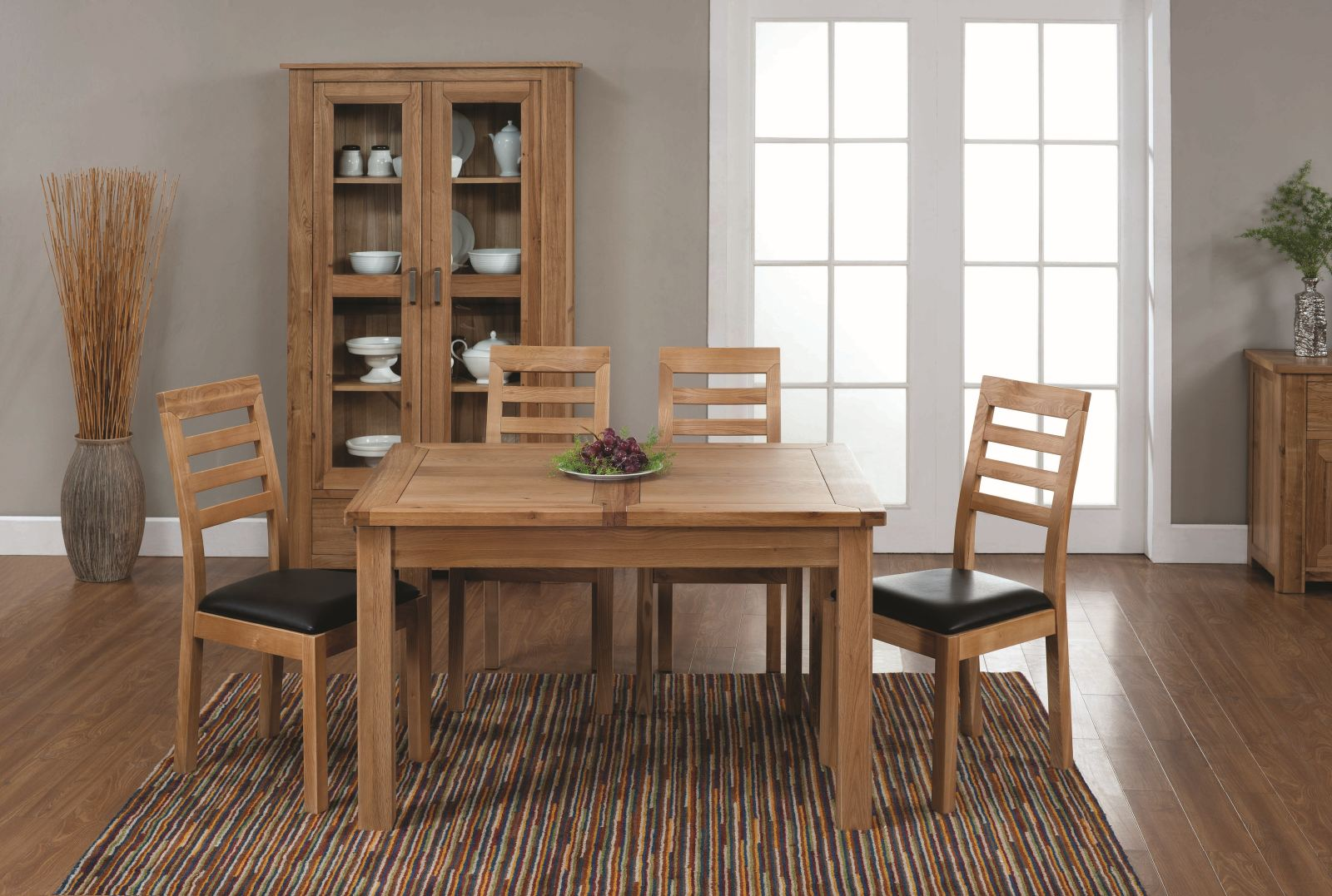 solid oak furniture small extending dining table and four chairs set