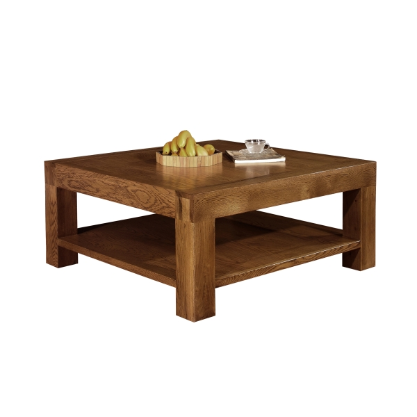 Sandringham solid dark oak furniture square coffee table with shelf ebay Square coffee table with shelf
