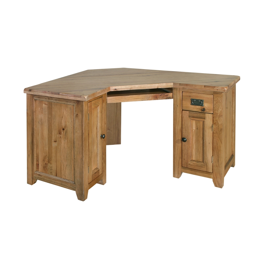 Tuscany solid oak furniture office corner computer pc desk for Solid oak furniture