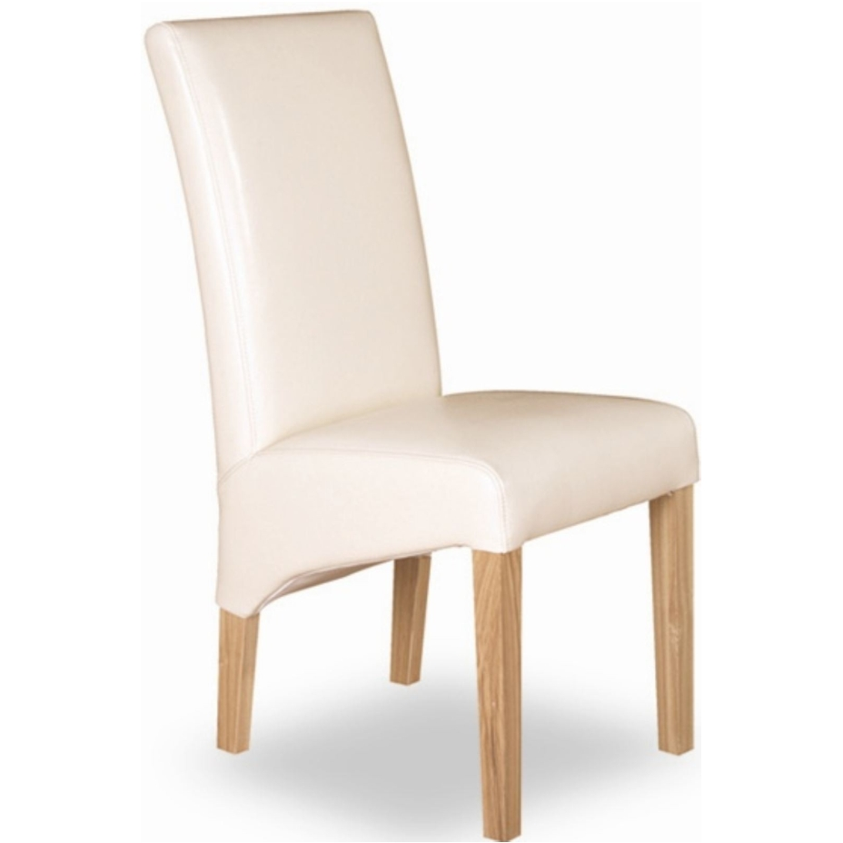 Cream Leather Dining Room Chairs: Tuscany Solid Oak Furniture Set Of Two Cream Leather