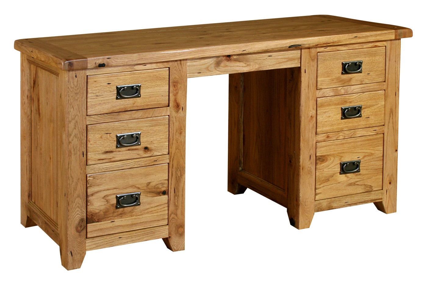 Tuscany Solid Oak Furniture Large Twin Pedestal Office Computer Pc Desk Ebay