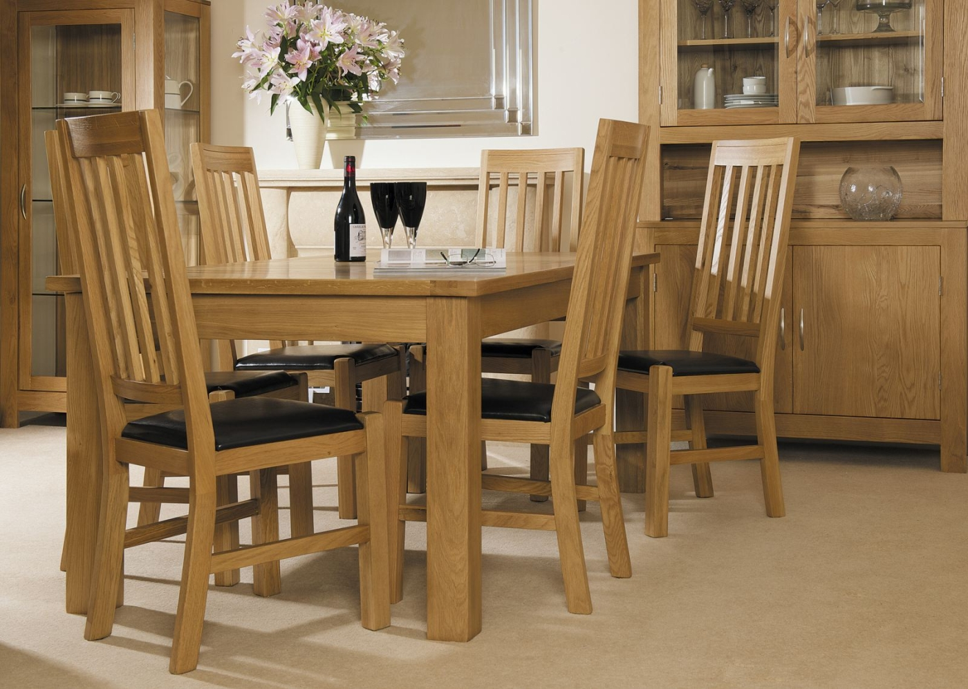 Cotswold solid oak dining room furniture set of six dining for Oak dining room chairs