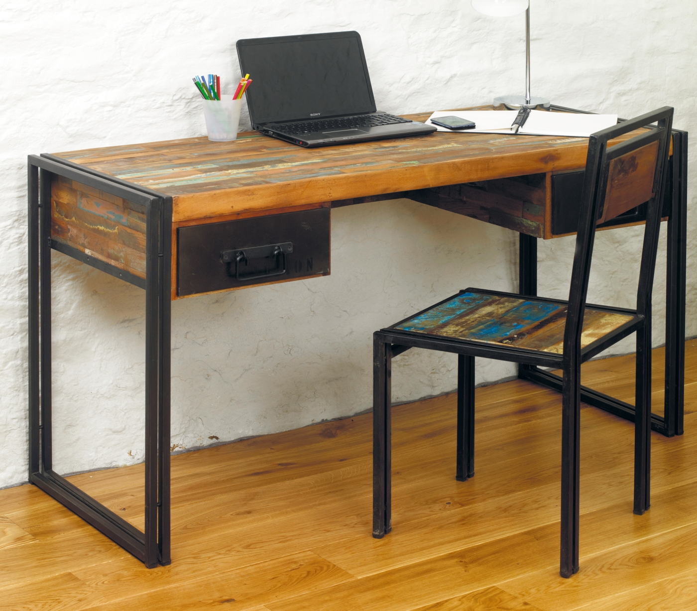 reclaimed wood office laptop computer desk bedroom dressing table