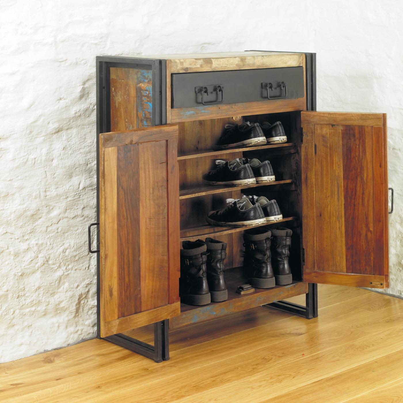 Agra Solid Reclaimed Wood Hallway Shoe Storage Cabinet