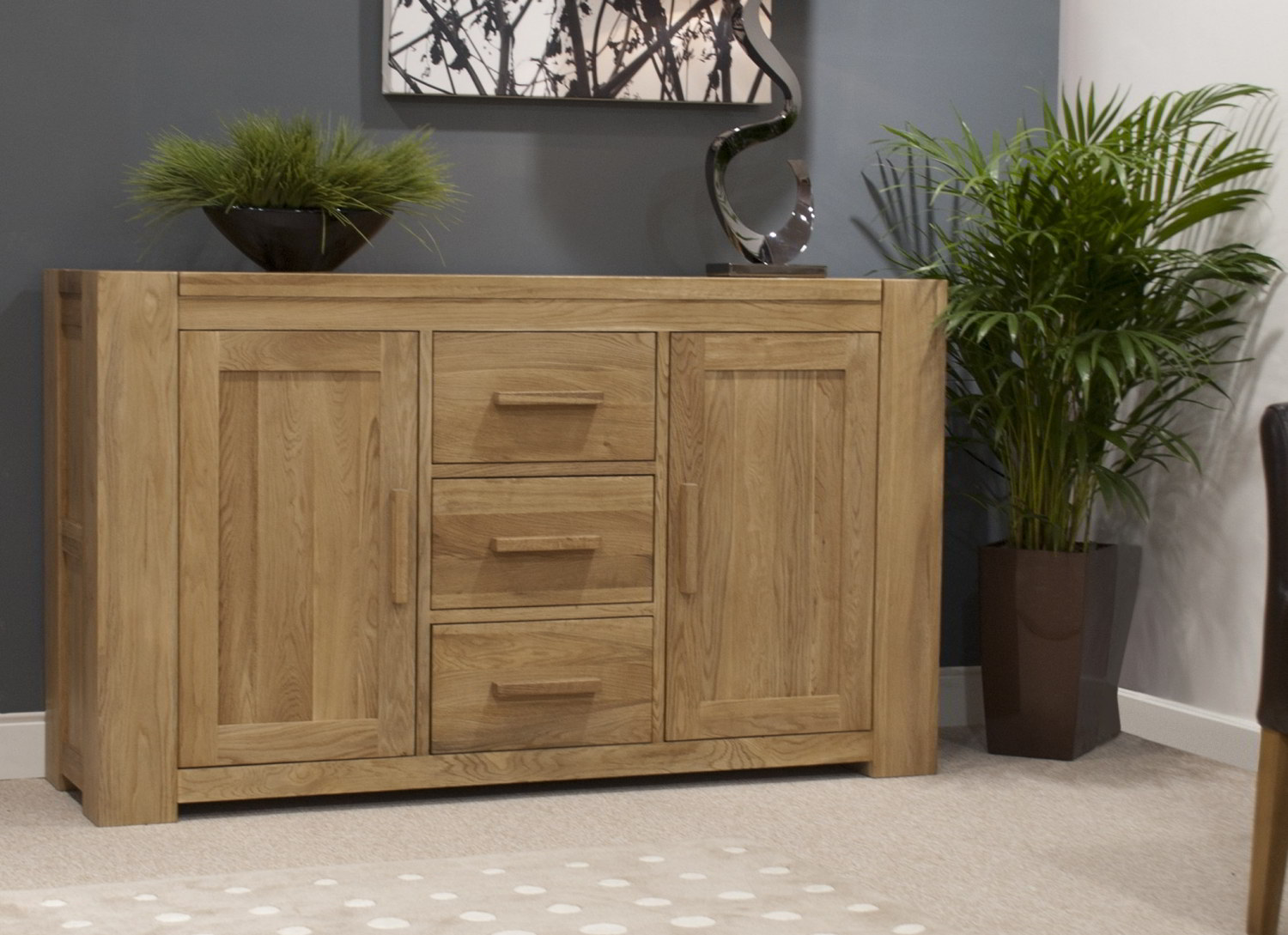 Solid Oak Living Dining Room Furniture Large Storage Sideboard EBay. Full resolution  portraiture, nominally Width 1500 Height 1089 pixels, portraiture with #51592C.