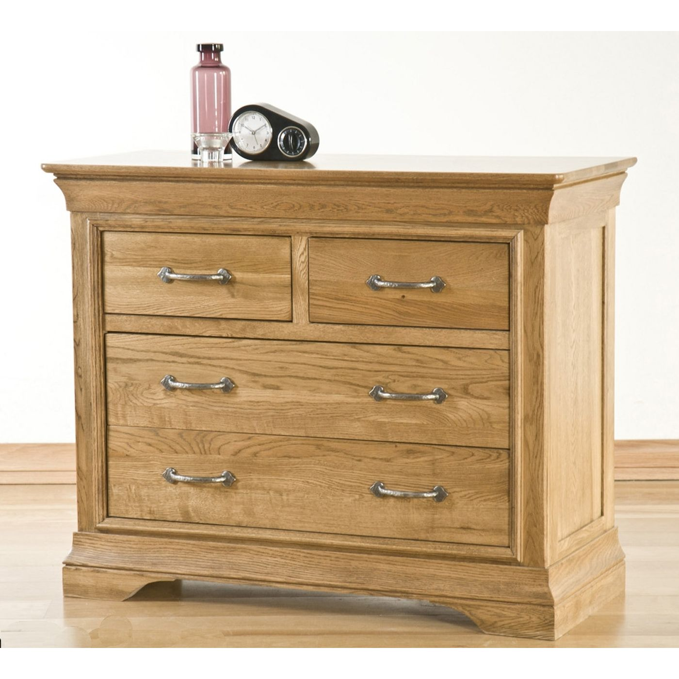 Toulon solid oak bedroom furniture over chest of