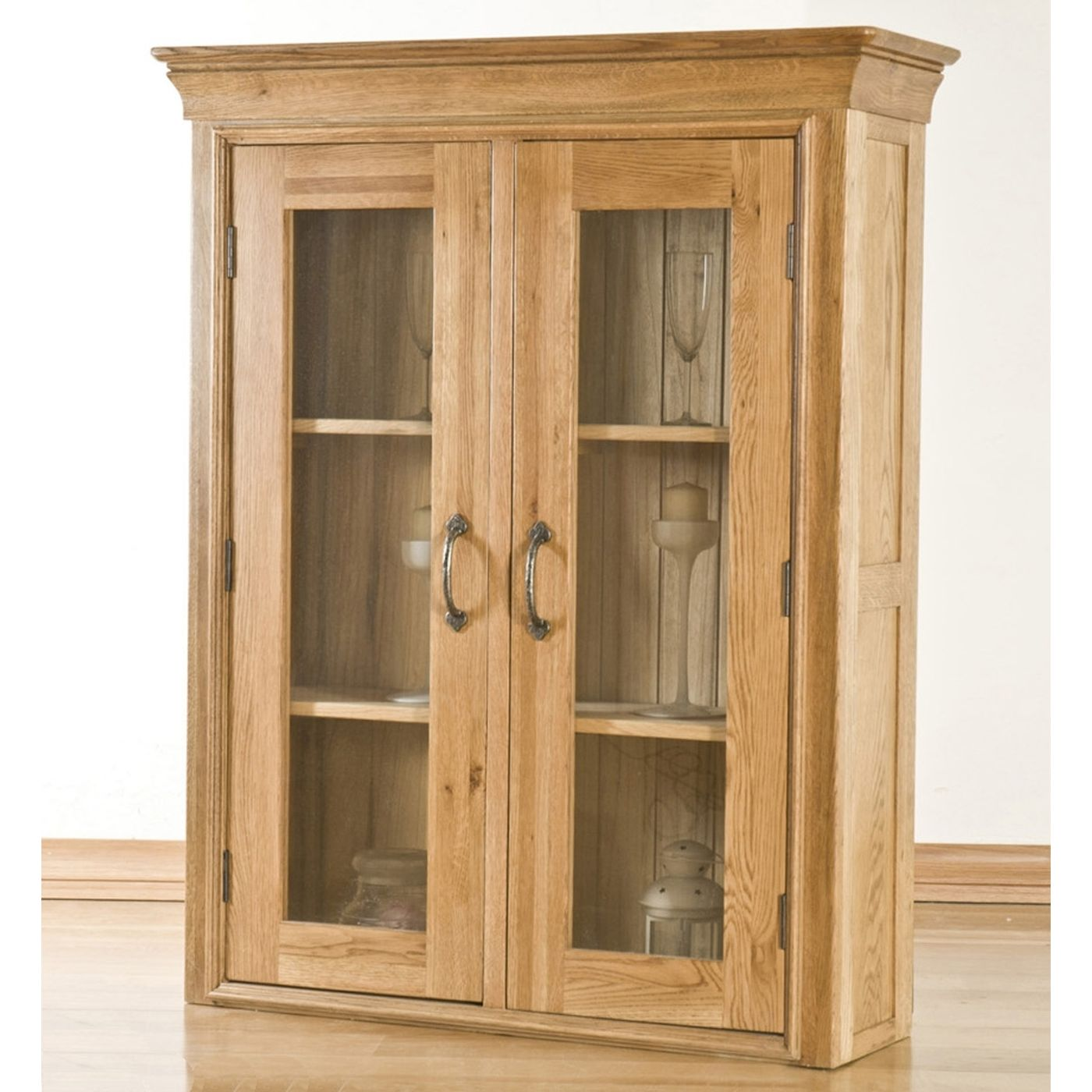 Toulon solid oak furniture small dining room china display for Dining room display cabinets