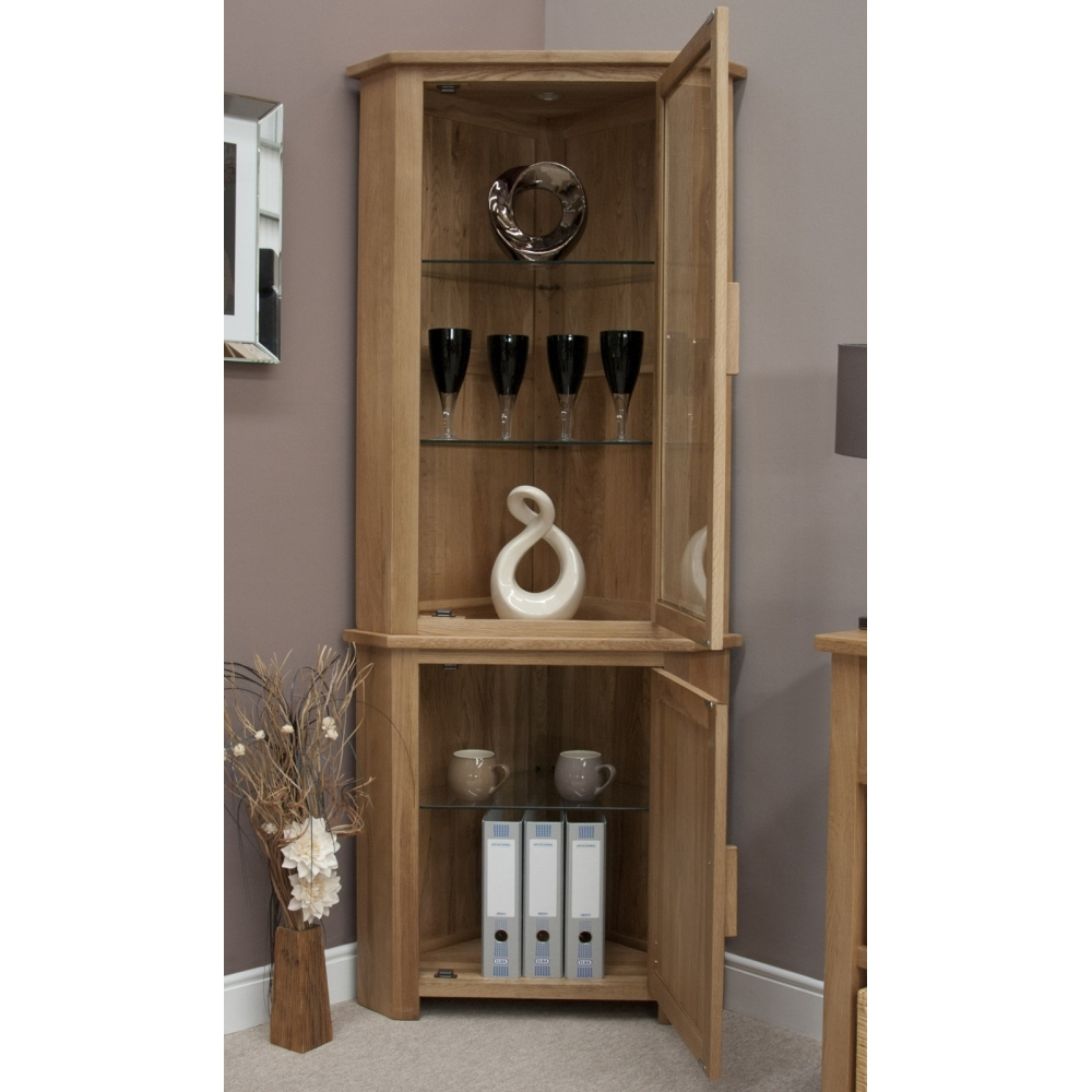 Living Room Furniture Cabinets: Boston Corner Display Cabinet With Light Solid Oak Living