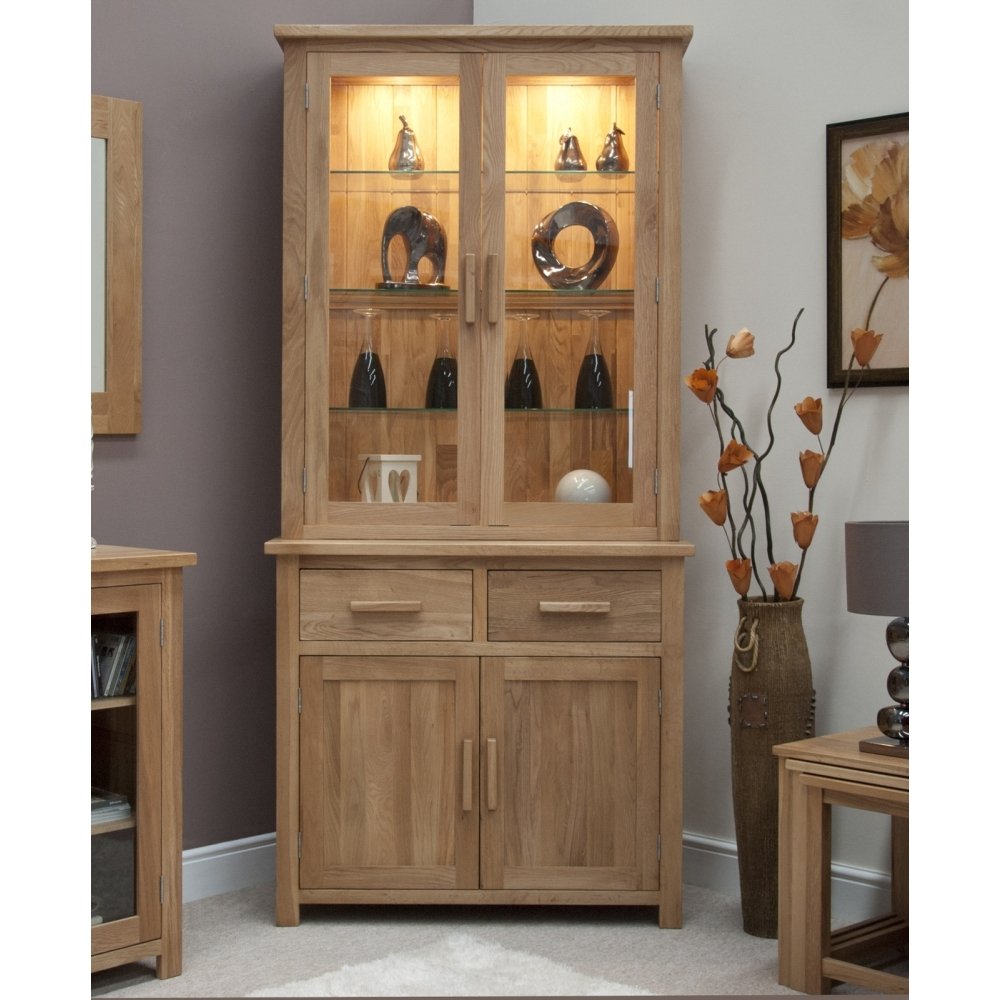 Boston Glazed Dresser Small Cabinet With Light Solid Oak
