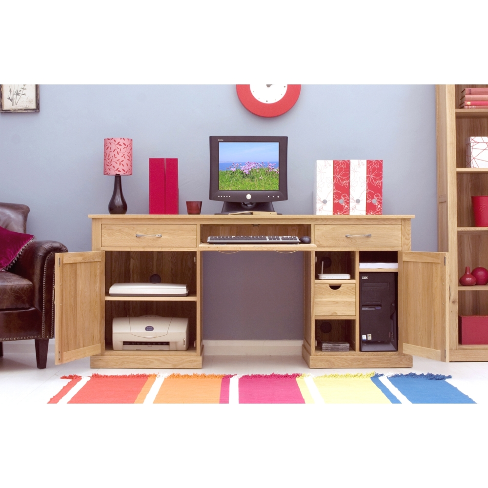 Mobel Desk Large Hideaway Hidden Home Computer Solid Oak