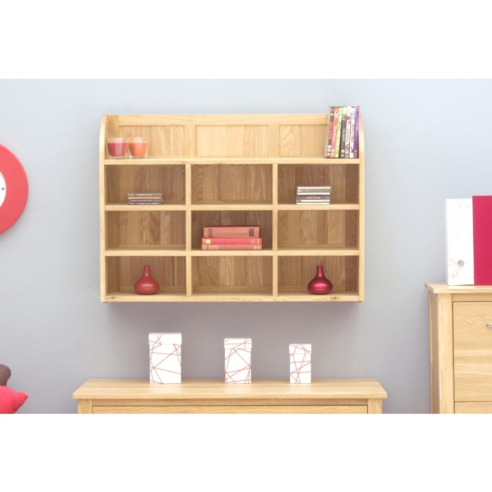 Mobel Cd Dvd Rack Storage Wall Mounted Solid Oak Office