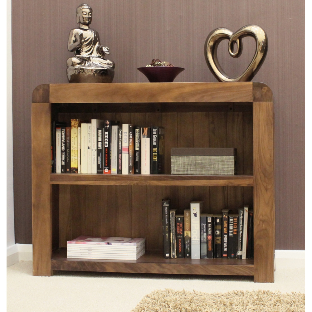 Shiro Low Bookcase Living Room Office Solid Walnut Dark