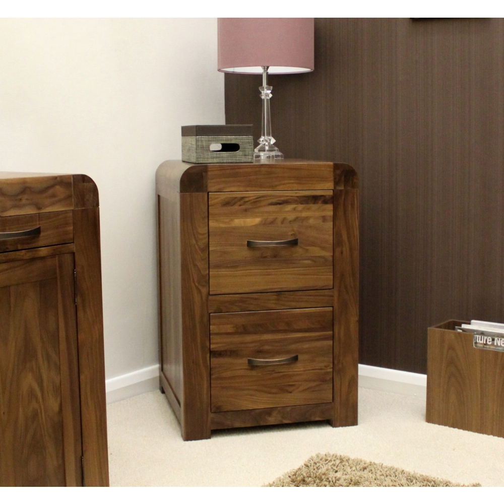 Shiro Filing Cabinet Small Two Drawer Solid Walnut Dark