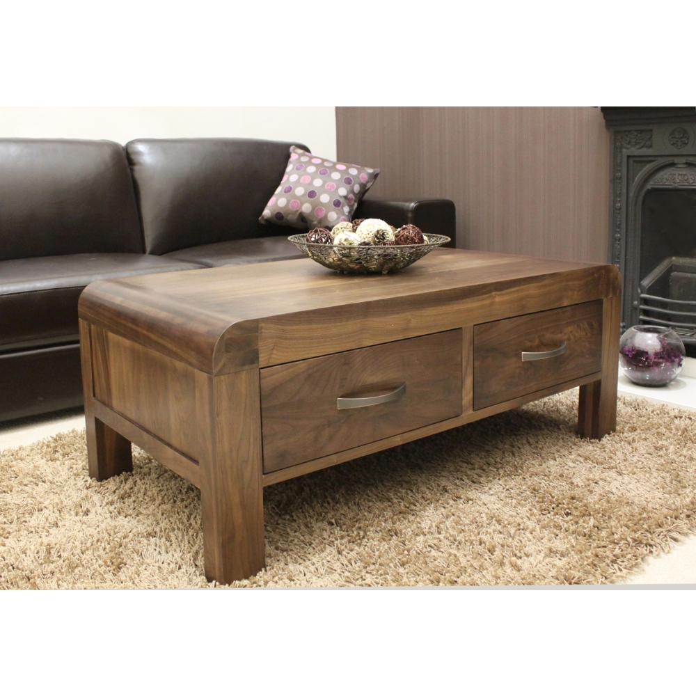 Shiro Coffee Table Four Drawer Storage Solid Walnut Dark