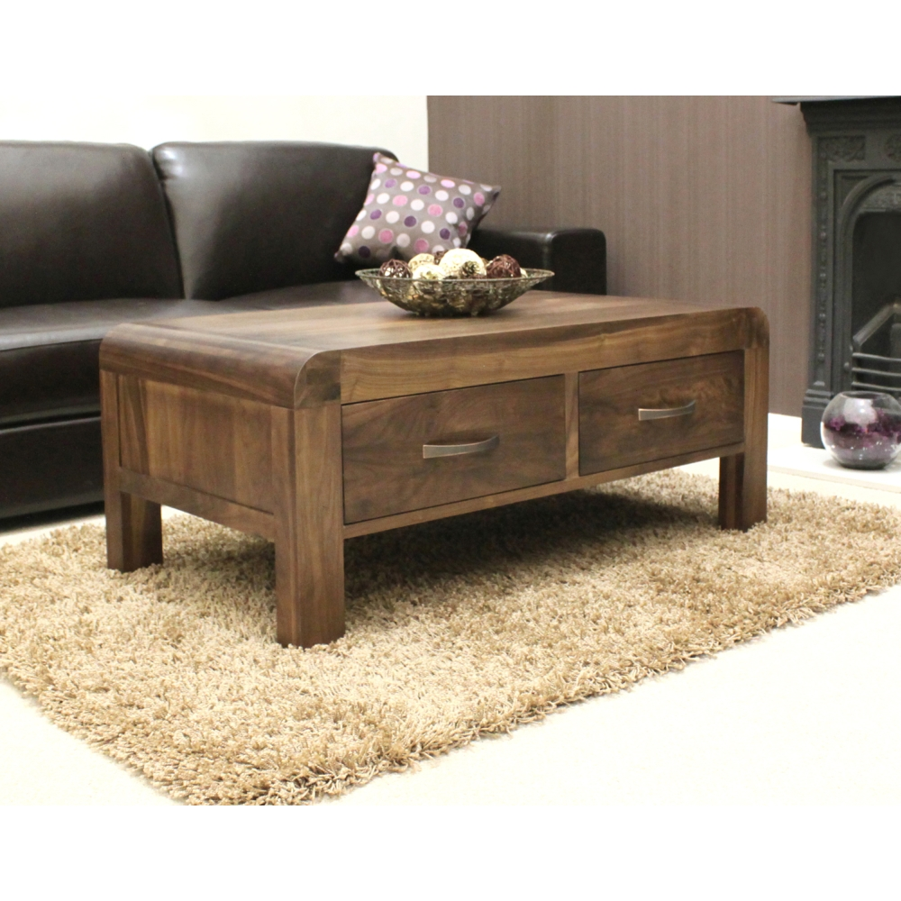 Shiro coffee table four drawer storage solid walnut dark for Dark wood furniture