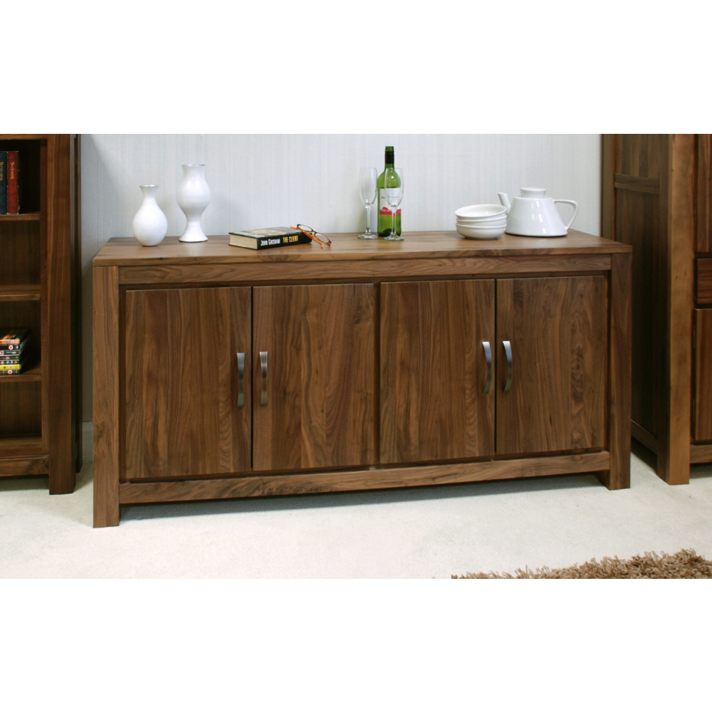 Mayan large low living dining room sideboard solid walnut for Dark wood furniture