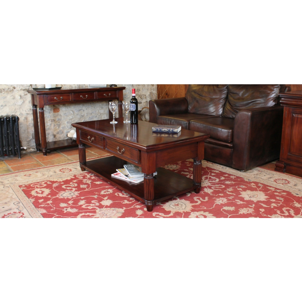La Roque Two Drawer Storage Coffee Table Solid Mahogany
