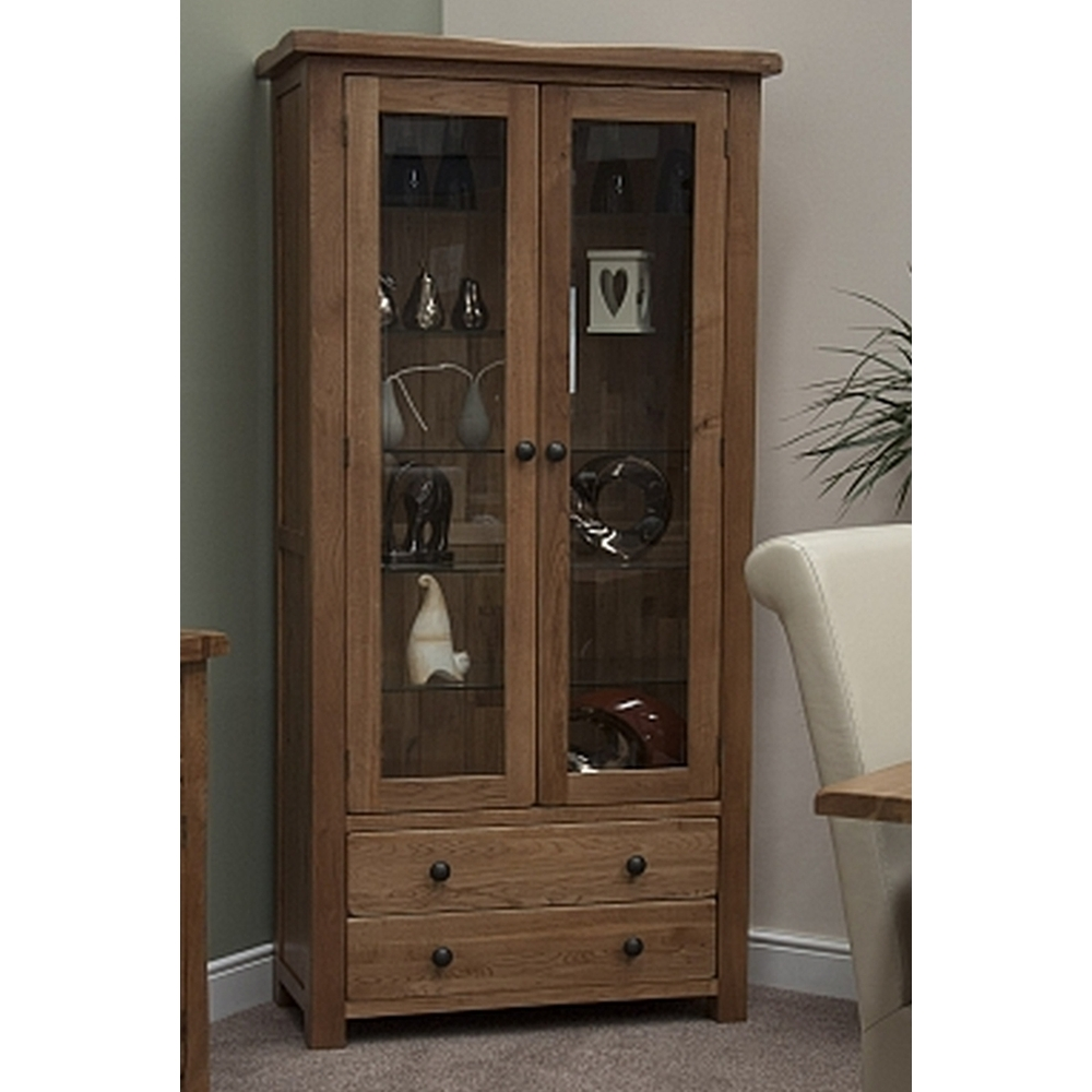 Denver glass display cabinet unit solid rustic oak living - Glass display units for living room ...
