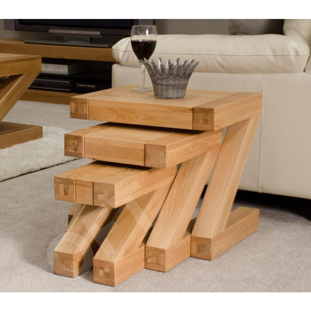 Details about z nest of three coffee tables set solid oak designer modern furniture