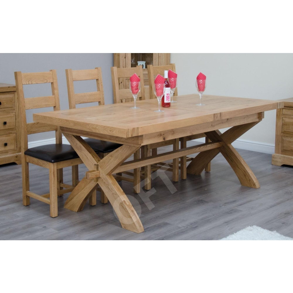 Crossed leg dining table dining room ideas montero solid oak furniture cross leg extending dining table ebay watchthetrailerfo