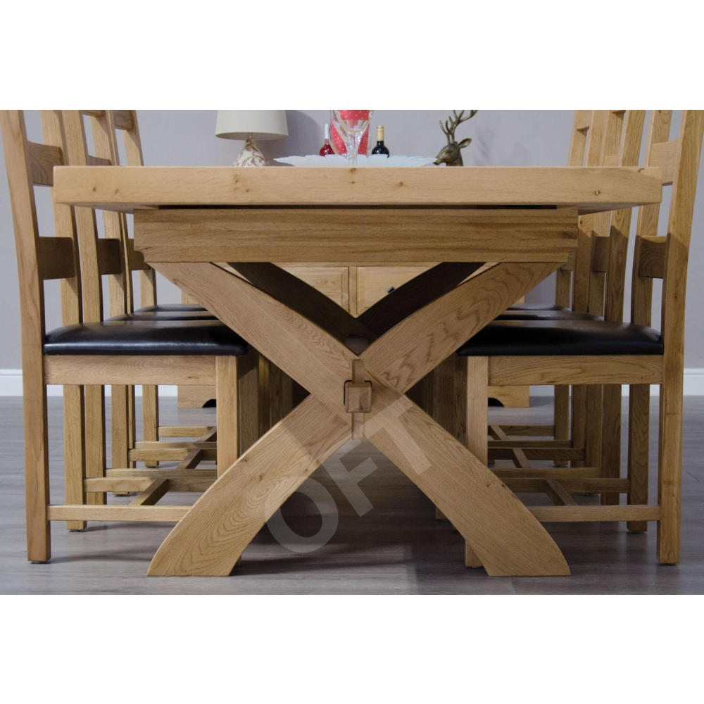 Montero Solid Oak Furniture Cross Leg Extending Dining