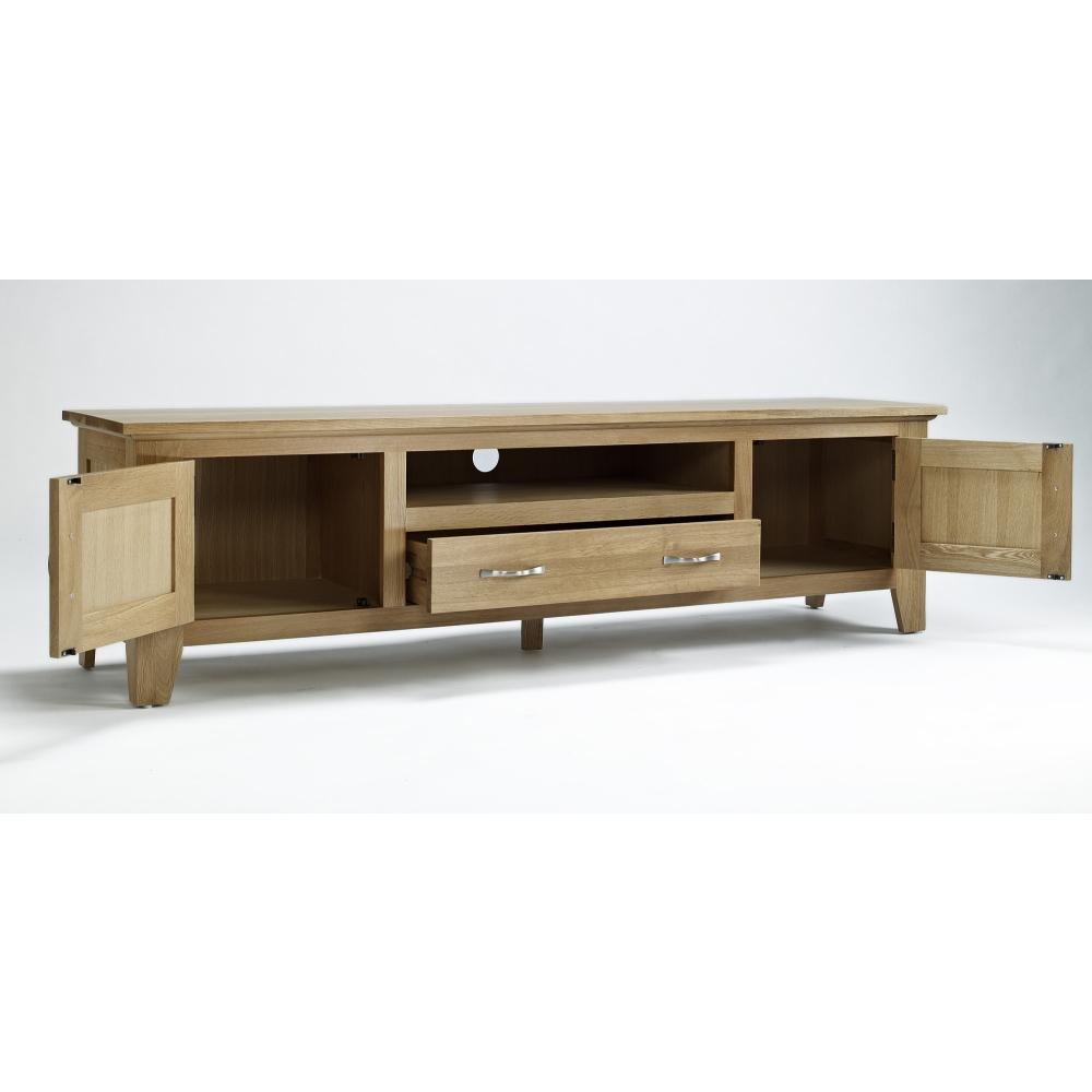 Sherwood solid oak furniture large 2 door 1 drawer tv for 1 drawer 2 door cabinet