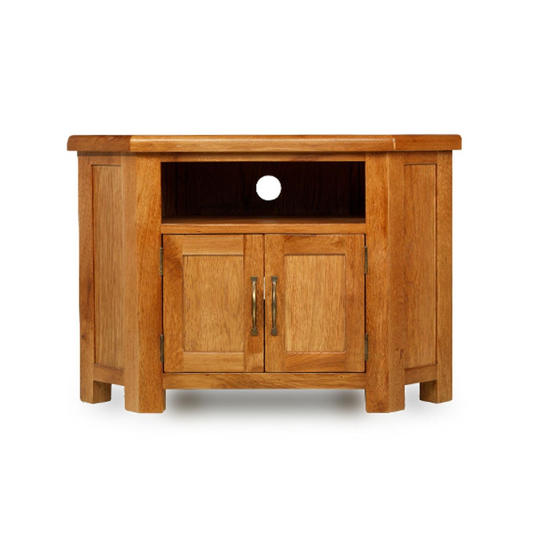 Rushden Solid Oak Furniture Petite Corner TV Cabinet Stand