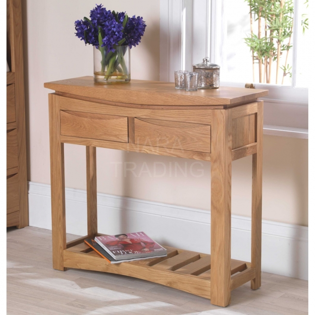 sports shoes f12c1 9b732 Details about Crescent solid oak hallway modern furniture console hall table