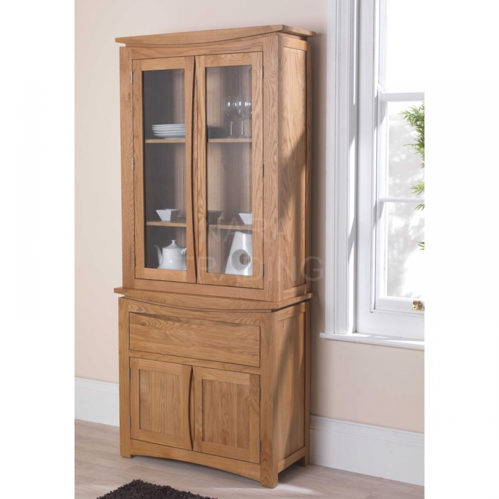 Dining Display Cabinets: Crescent Solid Oak Dresser Display Cabinet Dining Room